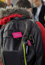 A student at Haimo Primary School in London with one of the backpacks designed to track air pollution.