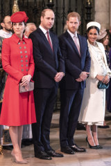 Meghan - pictured here with Kate, the Duchess of Cambridge, Prince William, and Prince Harry - is often photographed wearing heels.