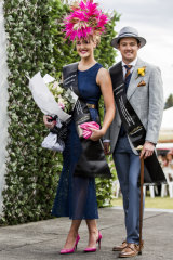 Last year's winners of Melbourne Cup fashions on the field at Thoroughbred Park,  Cobie Sheehan and Joshua Burgess.