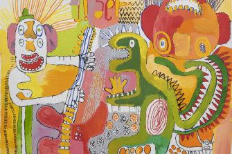 Detail of Tiger Yaltangki's Malpa Wiru (Good Friends), 2019.