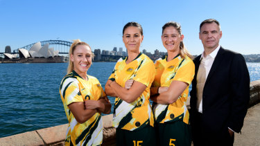 Coach Ante Milicic and members of the Matildas squad Gema Simon, Emily Gielnik and Laura Alleway will be part of the World Cup in France next month.