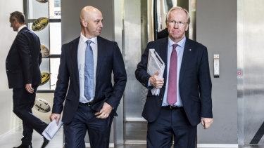 Big call: Todd Greenberg and Peter Beattie at League Central on Thursday.