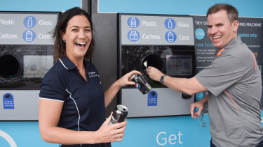 Tomra marketing manager Rachel Draper and Nudge executive director Ashley Little at the reverse vending machine trial kiosk in Bull Creek.
