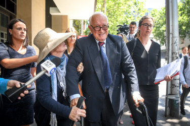 Former Hawthorn GP Dr Con Kyriacou leaving Melbourne Magistrates Court in 2019.