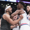 Melee erupts as Simmons's 76ers down Nets