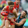 Swans powerless to stop Port Adelaide jumping into AFL's top eight