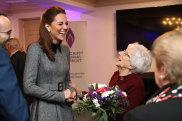 Catherine, Duchess of Cambridge shares a joke with Holocaust survivor Yvonne Bernstein.