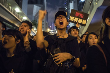 Protester on the streets of Hong Kong on Sunday night.