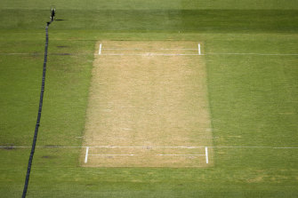 The MCG pitch that resulted in the Sheffield Shield match between Victoria and WA being abandoned.
