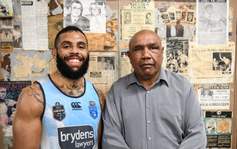 Josh Addo-Carr with his late grandfather Wally Carr during the 2018 Origin series.
