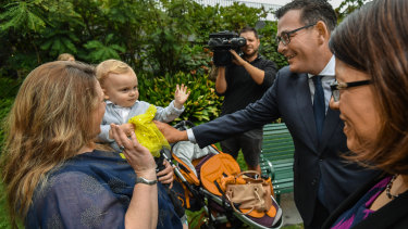 Jack and Rebecca Gleghorn meet Premier Daniel Andrews and Health Minister Jenny Mikakos.