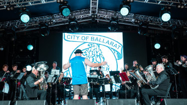 The City of Ballarat brass band firing up on Saturday morning.