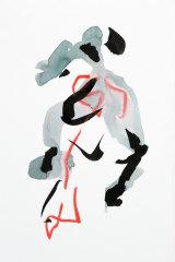 Olivia Millard Dancer, mixed media on paper.