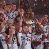 Melbourne Storm lift the 2020 NRl premiership cup.