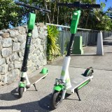 The new third-generation Lime scooter (right) alongside the generation 2 around Brisbane at present.