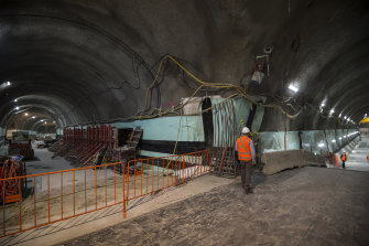 Tunnels for the new Pitt Street station, which is part of the second stage of Sydney's $20 billion metro rail line.