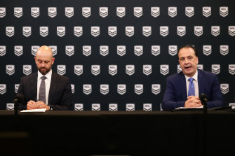 NRL chief Todd Greenberg and ARLC chairman Peter V'landys announce the indefinite suspension of the season.