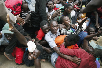 Several people were injured during a stampede for food in Nairobi.