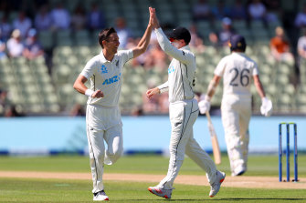 Trent Boult celebrates taking Olly Stone's wicket with the first ball of the fourth day of the second Test.