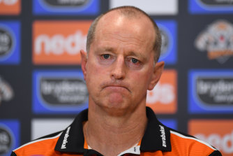 Embattled Wests Tigers coach Michael Maguire.