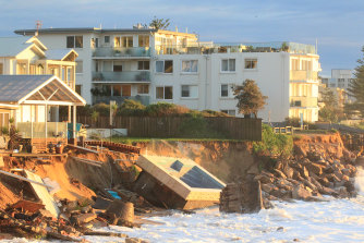 The east coast low in mid-2016 stirred up wild surf that slammed into Collaroy beach, dislodging a swimming pool and threatening to undermine buildings.