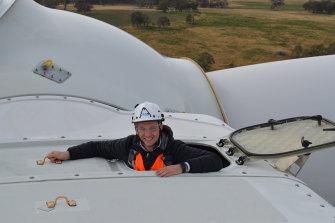 Matt Kean, NSW's Energy and Environment Minister, visits the Sapphire Wind Farm near Uralla.