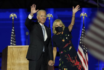 President-elect Joe Biden with his wife Jill Biden waving to supporters in Wilmington, Delaware.