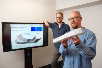 QUT researchers Christopher Schrank (right), Oliver Gaede and colleagues have discovered a previously unknown property of gypsum when it is under huge pressure found in plate tectonics.