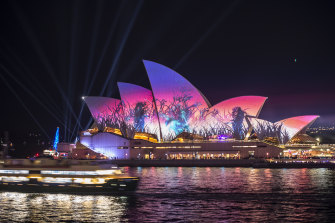 The Sydney Opera House lit up during opening night at Vivid in 2019.
