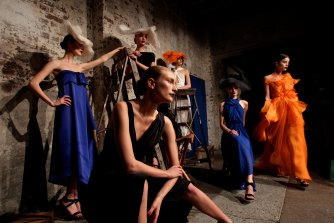 """Models on the catwalk for Carla Zampatti's Spring/Summer """"The Strength of Simplicity"""" Collection. April 28, 2011"""