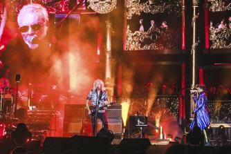 Adam Lambert and Queen perform at AAMI Park in February.