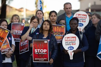Nurses rally at Blacktown Hospital to raise awareness of the abuse they have experienced  in the past few weeks.