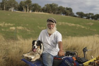 John Ive with his dog Mocha. His extensive tree planting has lowered the water table to combat legacy salinity issues.