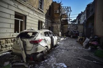 The aftermath of shelling by Armenian artillery in Ganja, Azerbaijan.