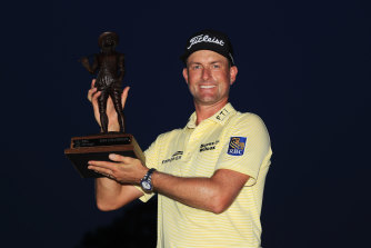 Webb Simpson enjoys his Heritage win.