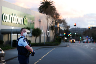 Police guard the area around Countdown LynnMall after an extremist carried out a terrorist attack, stabbing six people before being shot by police.