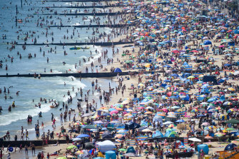 The hugely packed beaches in Bournemouth.