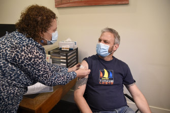 Chief Health Officer Brett Sutton in July getting his second AstraZeneca vaccine at The Hills Medical Practice at Olinda.