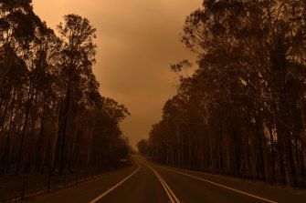 The Princes Highway between the towns of Bodalla and Mogo in January 2020.