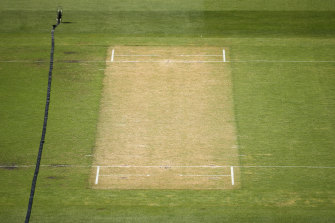 Past use-by date: The MCG pitch that resulted in a 2019 Sheffield Shield match being abandoned.