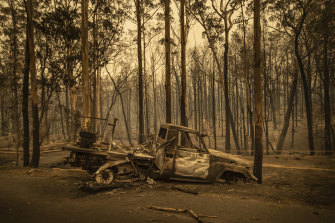 Some of the bushfire aftermath at Kangaroo Valley, south of Sydney.