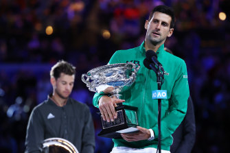 2020 Australian Open men's champion Novak Djokovic. The 2021 tournament remains uncertain.