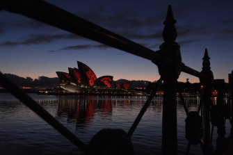 Poppies are projected on the sails of the Opera House for Remembrance Day this morning.