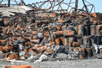 Burnt drums left behind after the West Footscray warehouse fire.
