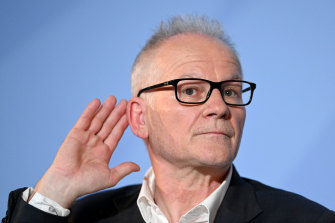 Cannes Film Festival director Thierry Fremaux gestures during the 74th Cannes Film Festival official selection presentation.