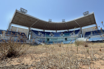 The softball stadium for the Athens Olympics has largely been abandoned since 2004.