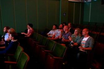 The screening room at Golden Age Cinema has 56 plush velvet seats.