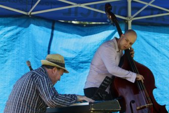 Kevin Hunt on keyboard and Carl Dunnicliffe on bass of the Kevin Hunt Trio in 2012.