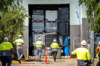 One of the stockpiles of toxic waste found in a warehouse in Epping.