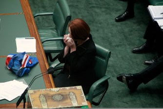 Julia Gillard, pictured in Federal Parliament in 2011, was routinely criticised for crying, while in power.